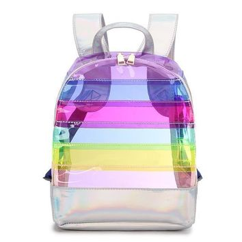 Striped Multicolor Transparent Backpack With Holographic Strap