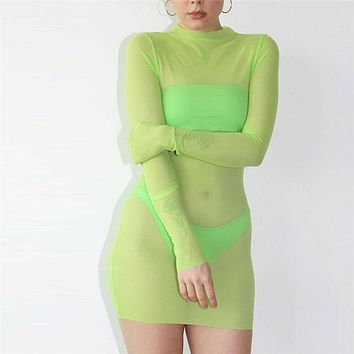 Sexy Women Long Sleeve See Through Mesh Dress Bodycon Female Evening Party Package Hip Dress