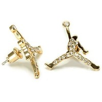 Gold Iced CZ Michael Jordan Inspired Jumpman Stud Earrings