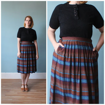 plus size skirt / stripe pleated skirt / 1980s / xl