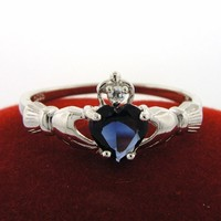 Claddagh ring- sterling silver. 925-any birthstone-fast delivery-any contry