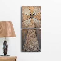 Art Wall clock, Cross  Clock, 2 Painting Set with clock, Unique wall clock, cross home decor