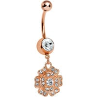 Rose Gold Plated Clear Gem Beautiful Blooming Flower Belly Ring | Body Candy Body Jewelry