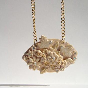 Champagne Pendant  Romantic Shabby Chic  Flowers and Birds Collage with Swarovski rhinestones
