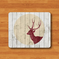Deer Circle Wood Mouse Pad Red Animal Silhouette Hand Print Rubber MousePad For Girl Desk Deco Work Pad Mat Rectangle Personal Gift Hipster