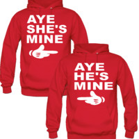 Aye She/He's Mine Hands Love Couple Hoodies