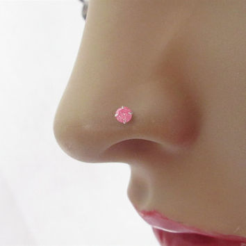 TINY Sparkly Dark Pink Nose Stud/ 925 Silver Nose Pin Stud With Ball End/ Pink Nose Stud/ India Nose Stud/Spring Nose Studs/Indian Nose Stud