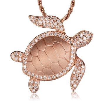 Sterling Silver Rose Gold Plated Alamea Hawaii Pave CZ Turtle Pendant Necklace