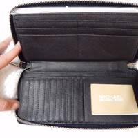 Michael Kors Jet Set Item Black / Silver Travel Continental Wallet MSRP $188 NWT