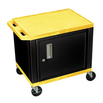 H. Wilson Mobile Multipurpose Storage Tuffy Utility Cart Lockable Cabinet Yellow Black Legs