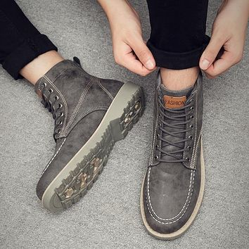UNN Genuine Leather Winter Boots for Men Vintage Casual Shoes Male in Snow Boots Footwear Lace Up Warm Inside Botas Homber