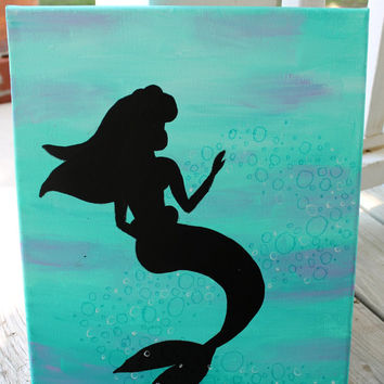 Princess Ariel silhouette // blue and purple background // 11x14 inch canvas // READY TO SHIP