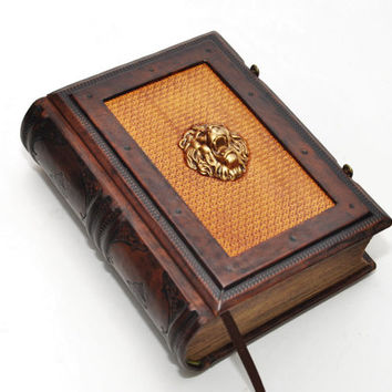Leather journal Lion head with secret chest, antique style, 8.1''x5.7'' (20,5x14,5 cm), in gift box
