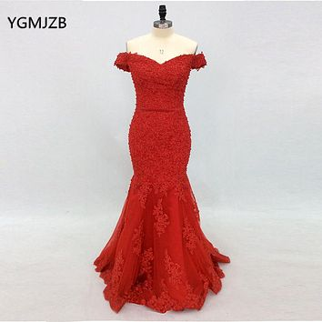 Elegant Long Evening Dress Lace 2018 Mermaid Off Shoulder Beaded Red Women Formal Party Evening Gowns Prom Dress Abendkleider