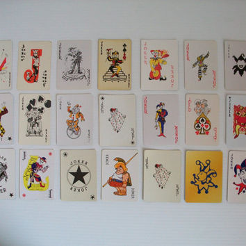 instant collection of 21 vintage JOKER playing cards . Joker card - vintage clowns