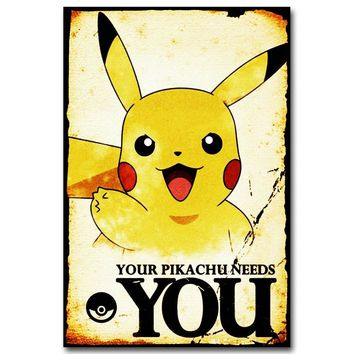 Anime Game Art Silk Fabric Poster Print 12x18 20x30 inches Pocket Monster Pikachu Wall PictureKawaii Pokemon go  AT_89_9