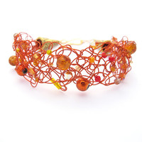 Orange Wire Crochet Bracelet