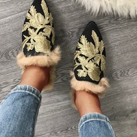 Embroidered Pointed Toe Fluffy Slippers