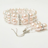 Pink wedding jewelry - Bridesmaid bracelet and earring set - Bridesmaid gift - Bridal shower favor - Matron of honor gift - maid of honor