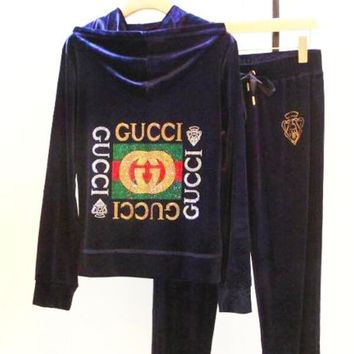 GUCCI Autumn And Winter New Fashion Velvet Long Sleeve Top And Pants Leisure Sports Two Piece Suit Blue