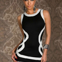 Line Strap Print Sleeveless Bodycon Mini Dress