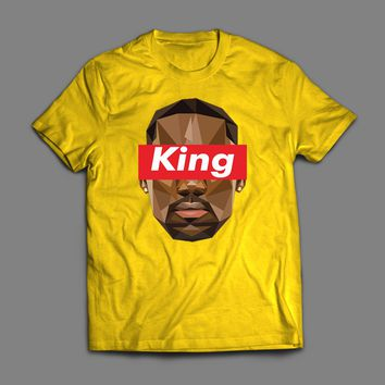 "LEBRON JAMES ""KING"" SUPREME STYLE PARODY CUSTOM ART T-SHIRT"