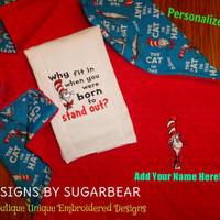 CAT in the HAT BaBY BLANKeT & BurP CLoTH MiNKY EMBRoiDERED PERSONALiZED So SnuGGLY BaBy Nursery SHoWER GiFT for your Little Dr. Seuss Fan!
