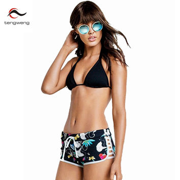 Halter Padded Bikini Set Floral Print Swimsuit Shorts Bathing Suit
