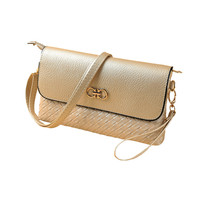 Gold Faux Leather Weave Pattern Snap Button Shoulder Clutch Bag