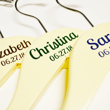 Personalized Wedding Hanger Decals, DIY Wedding Stickers, Name Date and Title, Bridal Party Hangers