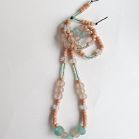 Long beaded necklace with sea green, peach, and clear glass Ghanian and Native American crow beads Summer fashion