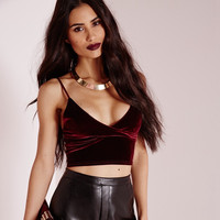 Fashion Female Velvet Solid Color Straps Deep V Sleeveless Wrapped Chest Small Vest Crop Top