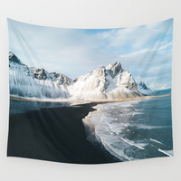 Iceland Mountain Beach - Landscape Photography Wall Tapestry by Michael Schauer