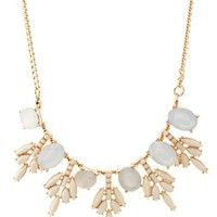 Ivory Faceted Stone Snowflake Bib Necklace by Charlotte Russe