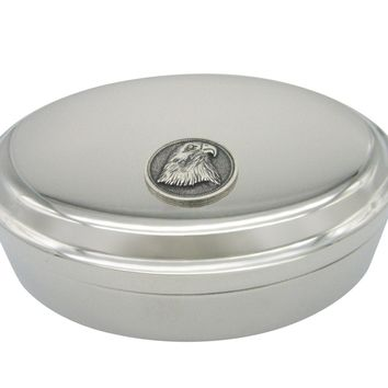 Round Eagle Bird Head Oval Trinket Jewelry Box