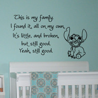 This Is My Family I Found It On My Own Lilo and Stitch Quotes Wall Decal Vinyl Sticker- Wall Decals For Nursery Kids Bedroom Dorm Q050
