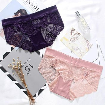 CINOON Hot Sale Satin Panties Sexy Lace Transparent Briefs Brand Comfortable Soft Underwear For Female