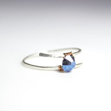 Mystic Crystal Blue Sterling Silver Ring