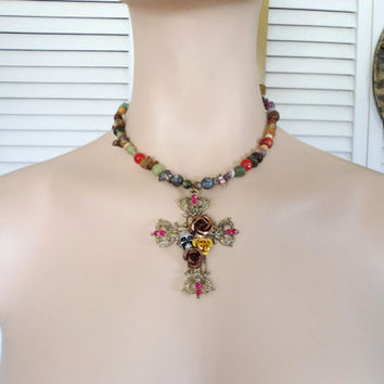 Large Chunky Brass Cross Skull Metal Flowers Pendant Hippie Necklace Shabby Steampunk Boho Style Jewelry