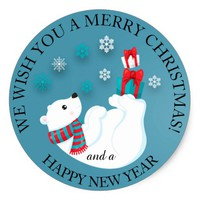 Baby Polar Bear Playing on Blue Merry Christmas Classic Round Sticker