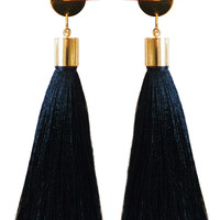 Long Tassel Earrings (Pink and Black)