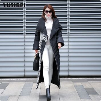 2017 Winter Womens 90% White Duck Down Coats Parkas White Black Gold Printed Knee Long Coat Full Length Jacket Female Outwear