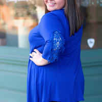 Off To The Races Tunic in Royal Blue {Curvy}