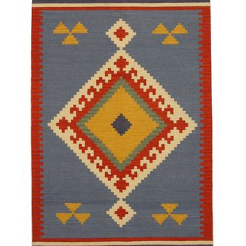 EORC Handmade Wool Blue Traditional Geometric Keysari Kilim Rug
