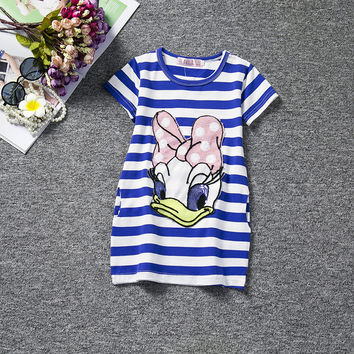 Deals Blast: Kid Girl Summer Dress Casual Style Baby Stripe Cotton Dresses For Girls Smock Frock Designs Lovely Halloween Donald Duck Costume