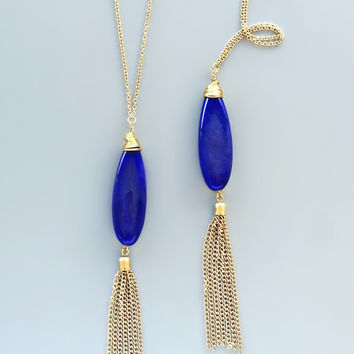Polished Lapis Lazuli Quartz Necklace
