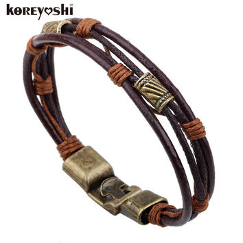 bracelets men 2016 new Hot fashion jewelry genuine leather Stainless steel Black Bracelet men's Vintage Bracelets & Bangles