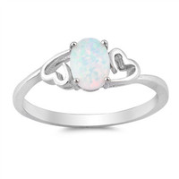 Sterling Silver 7mm Oval Created White Opal Double Heart Ring