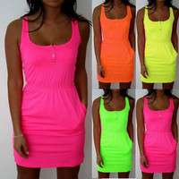 Women Summer Casual Sleeveless  Button Evening Party Beach  Slim Waist Dress Short Mini Dress 6-18