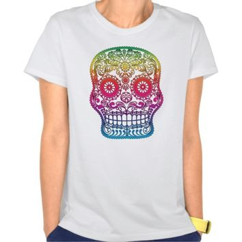 Colorful Rainbow Sugar Skull - Day of The Dead T-Shirt - Clothing for women, men and kids.
